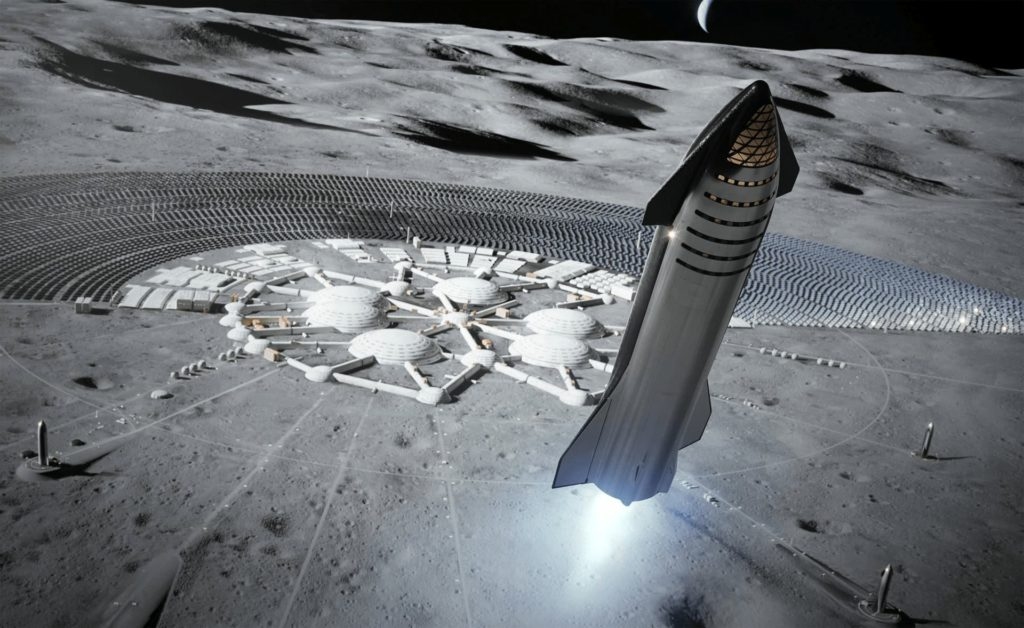 月面基地を離陸するStarship