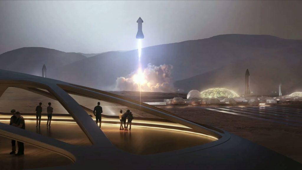 火星コロニーを離陸するStarship
