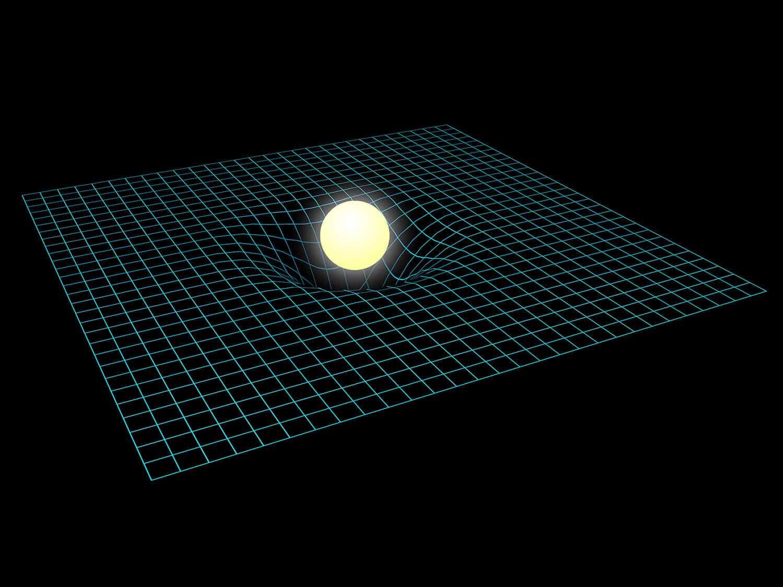 星の重力で時空が歪むイメージ